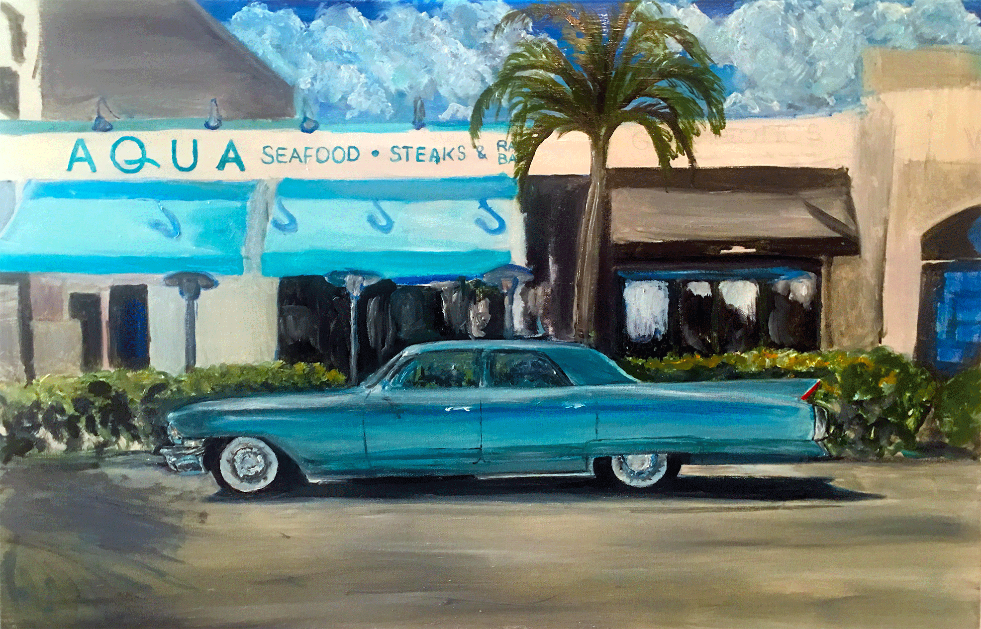 cityscape art 5th ave naples florida Realistic oil on canvas | waynepearce.com