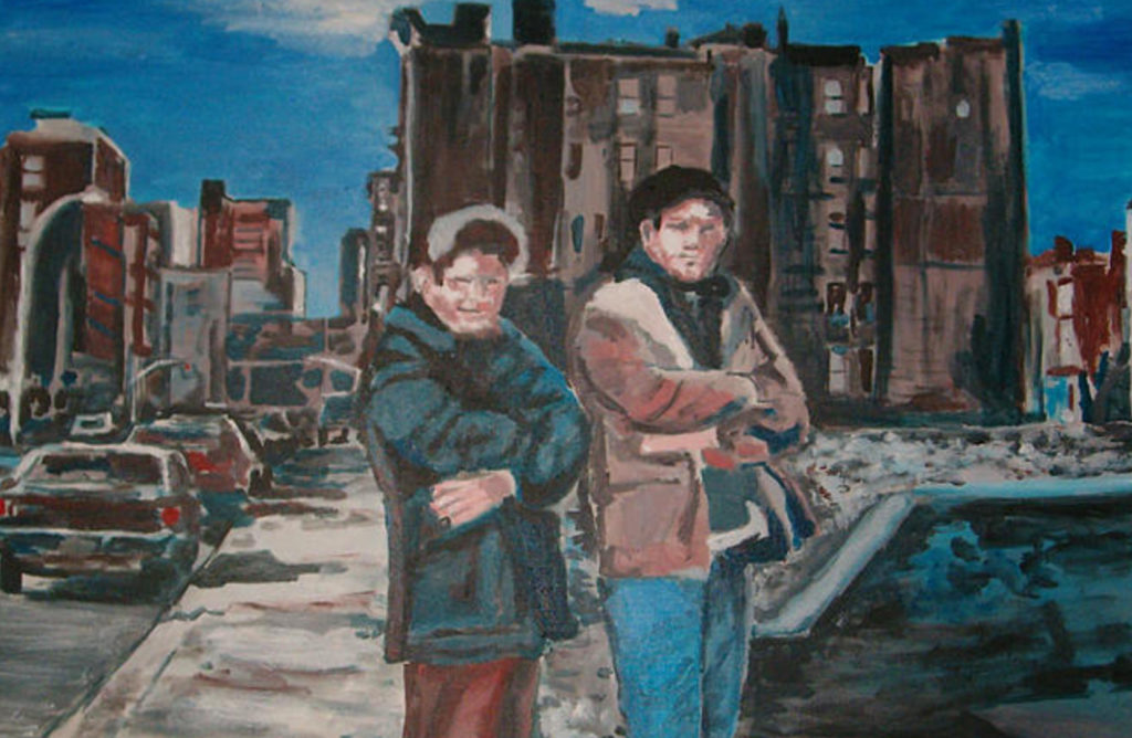 wayne pearce homeboys lower east side acrylic on canvas painting
