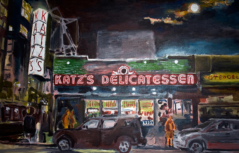 wayne pearce katz deli nyc oil on canvas