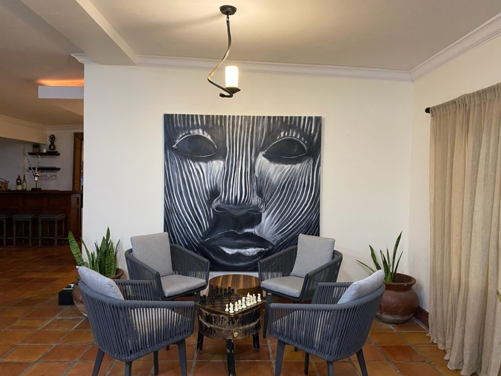 Acrylic painting on canvas for your home or office – Grey Stripes Mask
