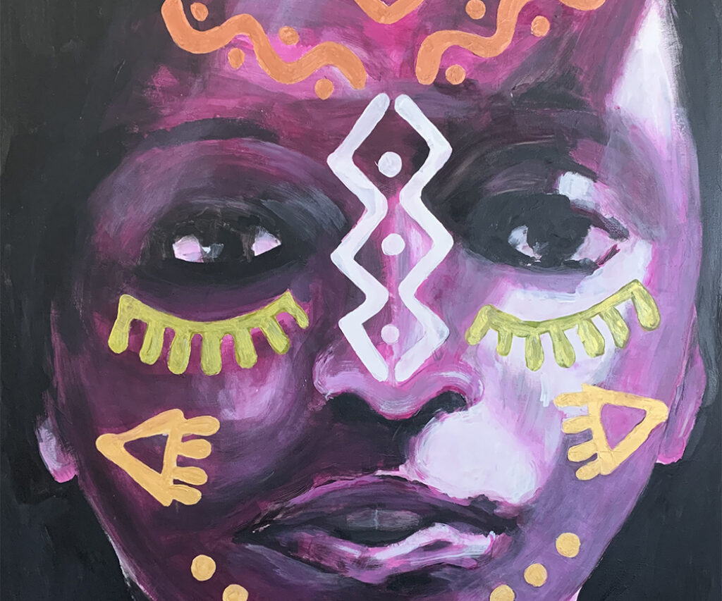 Commissioned portrait Acrylic painting on canvas – Purple Mask