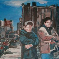 Homeboys, oil on canvas 24