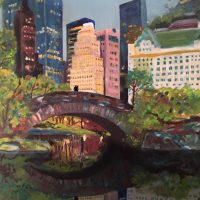 wayne pearce central park, gapstow bridge, oil painting